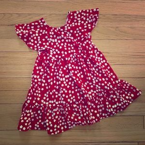 3T Cat & Jack Red with white stars flutter dress